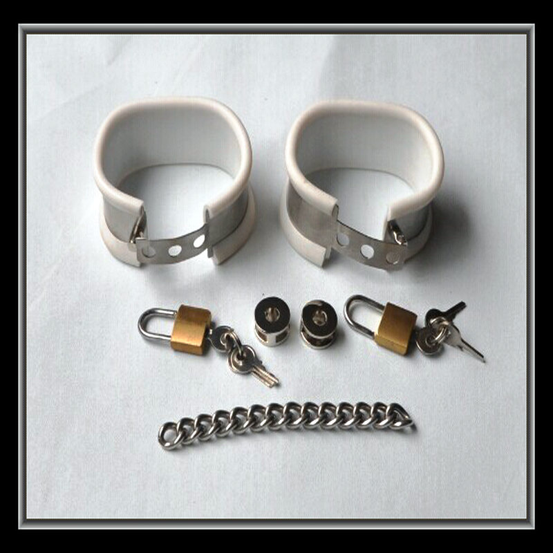 Stainless steel+white silicone liner handcuffs bondage restraints hand cuffs couples bdsm fetish slave games sex toys products left standing device with hand cuffs dildo alternative games fetish restraints bondage erotic slave bondage sex toys for couples