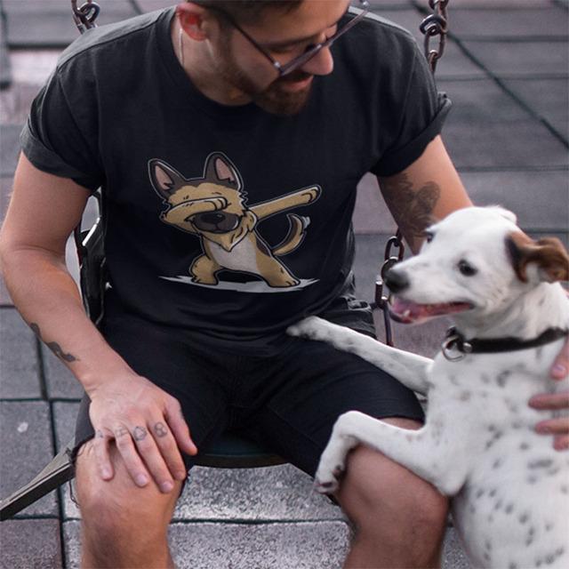 German Shepherd T shirt Pug Funny Camiseta Unisex 100% Cotton Design Halloween Gift T shirt Homme EU Size