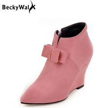 0eb91cfca8b0 New Candy Color Wedges Boots Women High Heels Ankle Boots Bowknot Pointed  Toe Autumn   Winter