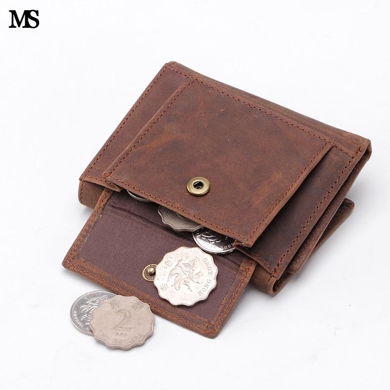 MS Vintage Men Äkta Läder Kreditkort Fall ID Kontant Mynt Små Plånböcker Slim Organizer Bifold Plånbok Hasp Purse Kaffe Q354