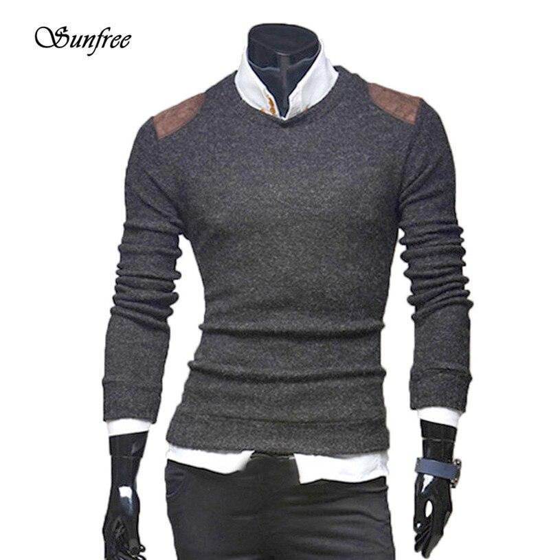 Sunfree 2016 New Hot Sale Men Autumn Winter Slim Collar Long-sleeved Button Sweater Top Top Brand New High Quality Dec 1