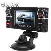 ObdTool F30 2.7 HD Car DVR Recorder Car Camera Cam Dash Camcorder Dual Lens Car Driving Recorders for Cars Black