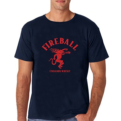 Tshirt Brand 2018 Male Short Sleeve Cool Casual Sleeves Cotton T-Shirt Fashion Fireball Whiskey Logo Short shirt for mens