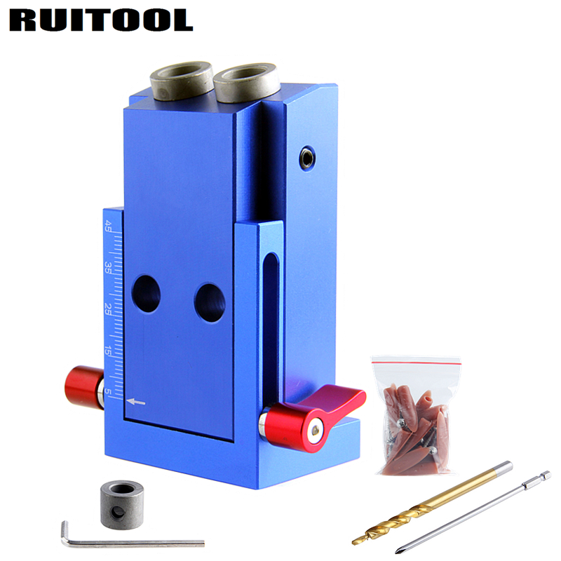 Portable Pocket Hole Jig Kit System With Screwdriver Drill Bit Set For Carpenter  WoodWorking Hardware Tools woodwork pocket hole jig guide repair carpenter kit woodworking tool