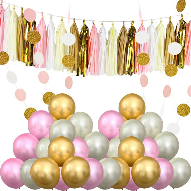 Pink Gold White Girl Baby Shower Decoration Party Latex Balloons Paper  Tassel Polka Dot Circle Banner