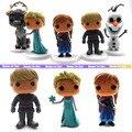 5pcs/lot 7.5cm-8.5CM PVC funko pop princess Elsa Anna doll Kids toy Olaf/Sven action figure set anime cartoo gift for girl