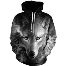 2019 Unisex Women Men Galaxy Animal 3D Digital Print Pullover Hoodie Hooded Fleece Sweatshirt LYM001-015