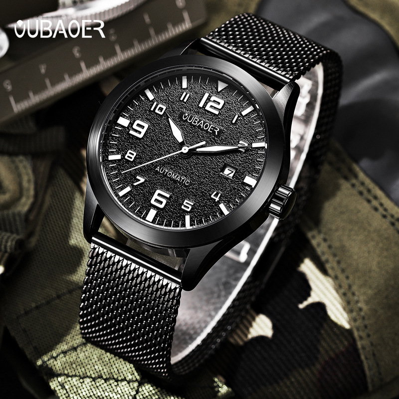 все цены на 2018 New Men's WristWatch OUBAOER Stainless steel Casual Automatic Mechanical Men Watches Male reloj hombre онлайн