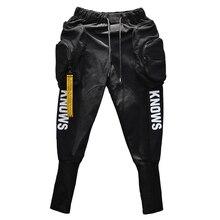 Primavera Autunno Hip hop Cargo harem dei pantaloni degli uomini di Lungo Grandi tasche Chiusure lampo Bianco Nero