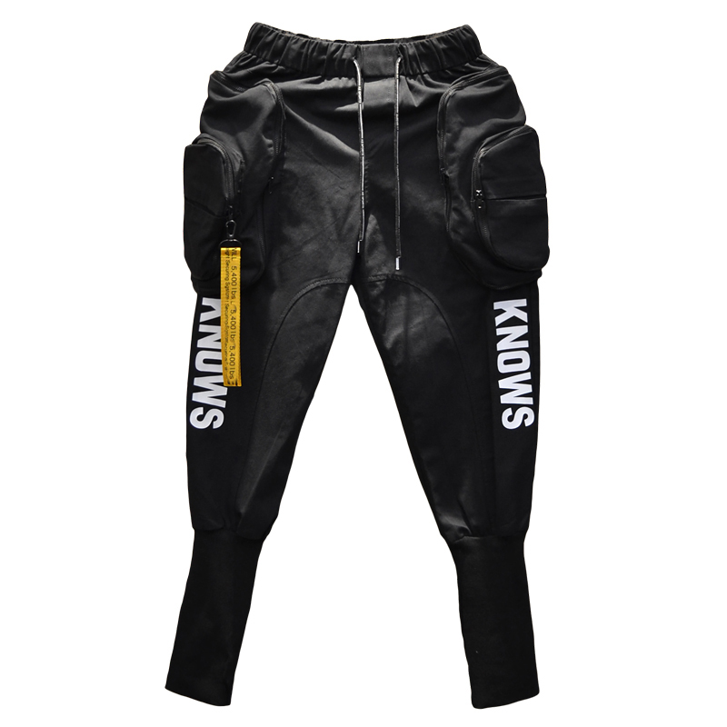 Spring Autumn Hip Hop Joggers Cargo Harem Pants Men Long Big Pockets Zippers White Black