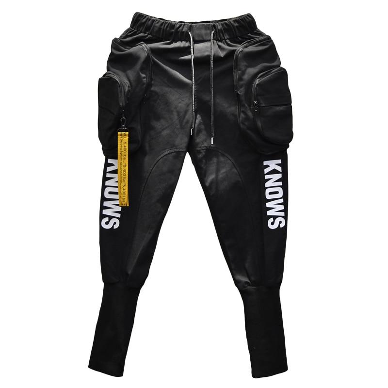 Spring Autumn Hip Hop Joggers Cargo Harem Pants Men Long Big Pockets Zippers White Black