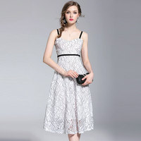 SunnyYeah Women Casual Lace Dress Summer 2018 New Sleeveless Sexy Spaghetti Strap Elegant Evening Party Dresses Female Vestidos