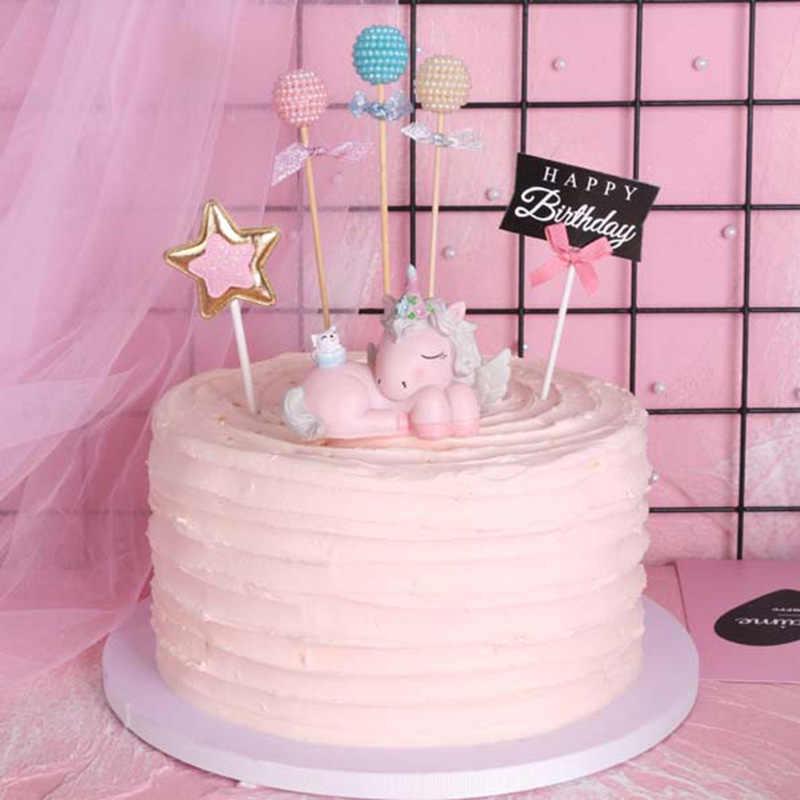Awe Inspiring Pearl Ball Happy Birthday Cake Topper Unicorn Birthday Cake Funny Birthday Cards Online Alyptdamsfinfo