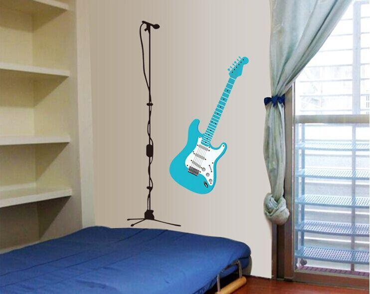 Gratis verzending 1 stks partij modieuze blauw gitaar verwijderbare