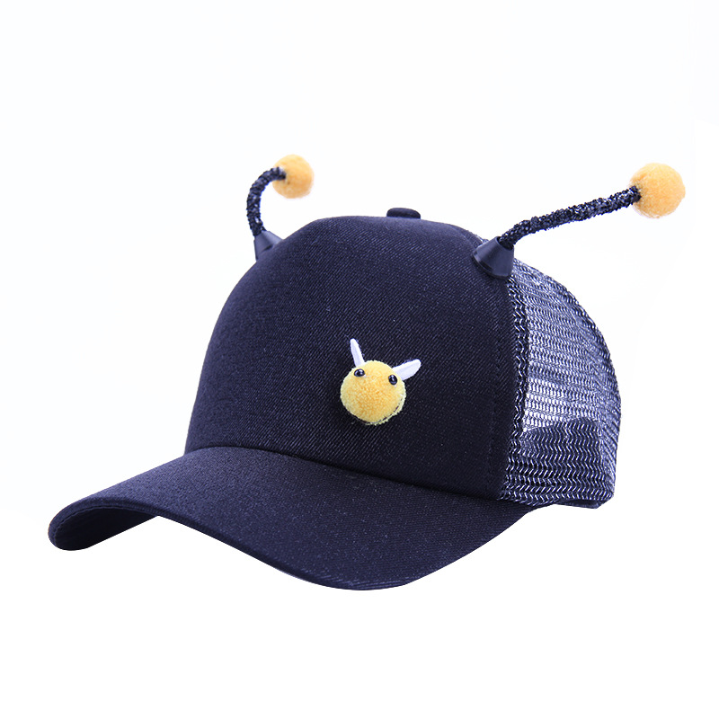 Expressive Fashion Childrens Sunshade Cotton Sunscreen Cute Cartoon Antenna Bee Baseball Mesh Cap Adjustable Hip-hop Curved Hats U1 Men's Baseball Caps