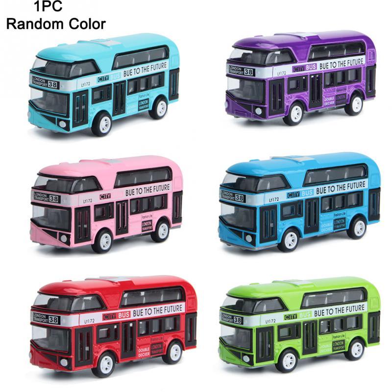 1PC Alloy Car Model Pull Back Alloy Children Car 1:43 Simulation London Double Decker Bus 10*3*4.5cm Distribute Randomly