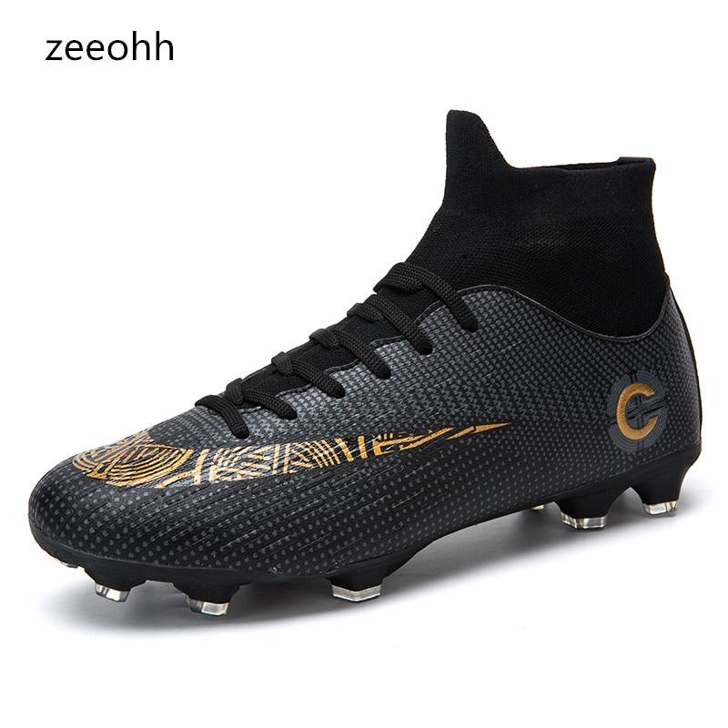 Formação dos homens High Top Tornozelo Sapatos Chuteiras De Futebol AG Sole Ao Ar Livre Pico Homens Altos Tornozelo Crampon Chuteiras Originais chuteiras