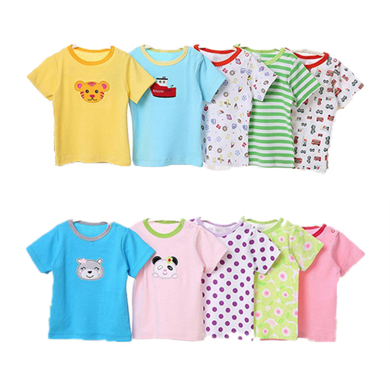 5 Pcs 0~24M T-shirt Tops Tees Baby Boy Clothes Baby Girl Clothes Short Sleeve T-shirts Cartoon Cute Blouse Roupas Summer V30