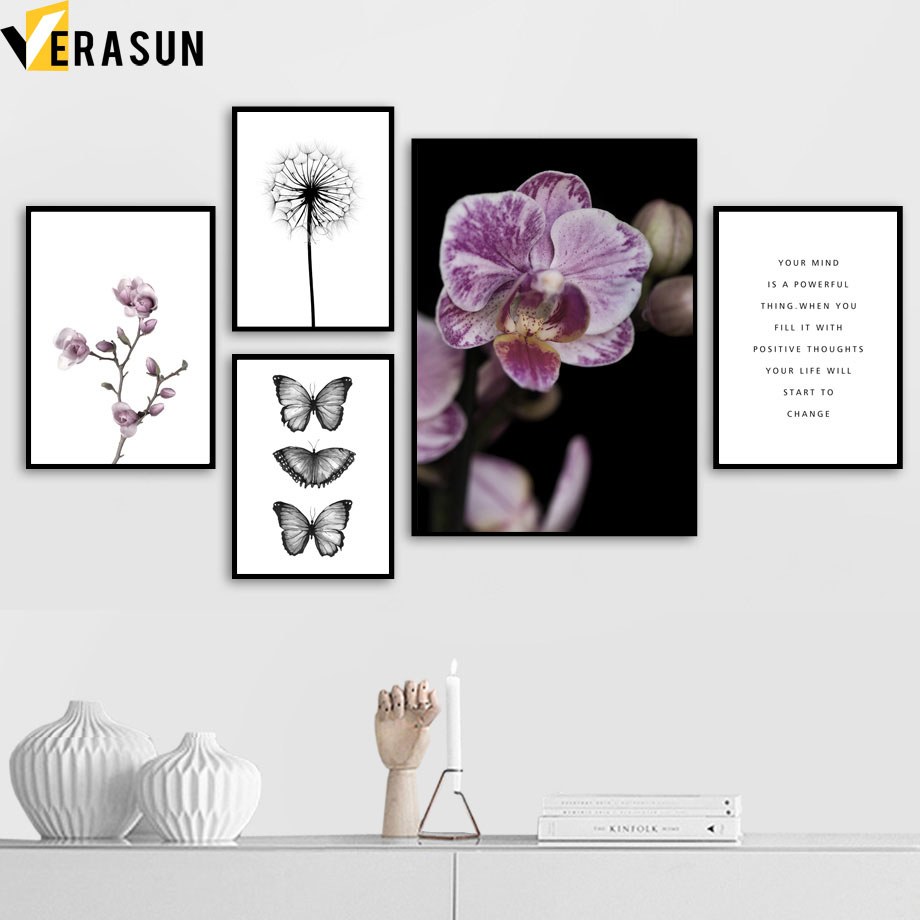 Dandelion Butterfly Pink Magnolia Flower Wall Art Canvas Painting Nordic Posters And Prints Wall Pictures For Living Room Decor in Painting Calligraphy from Home Garden