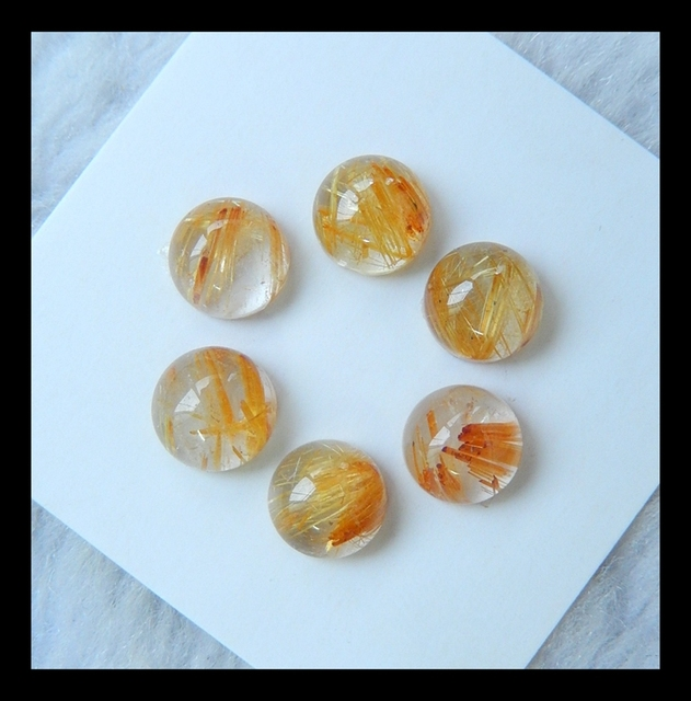 Natural Stone Sale 6pcs hemisphere Shape Gold Rutilated Quartz Cabochons,7*4mm,2.1g, semiprecious stone charm cabochon