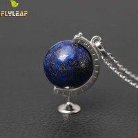 Original 925 Sterling Silver di Alta Qualità Lapis Lazuli Globe Collane e Ciondoli Per Le Donne Stile Casual Ragazza Accessori Regalo