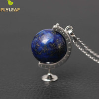 Original 925 Sterling Silver High Quality Lapis Lazuli Globe Necklaces Pendants For Women Casual Style Girl