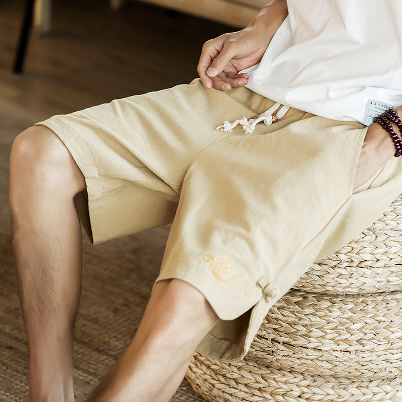 Summer Chinese style Embroidery Men Loose Linen Shorts Knee Length Short Trousers Male Bermuda Casual Board Shorts QT4015-DK01 Шорты