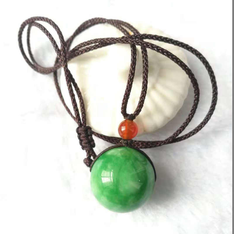 yu xin yuan fashion green Jade round bead figure necklace pendant gift