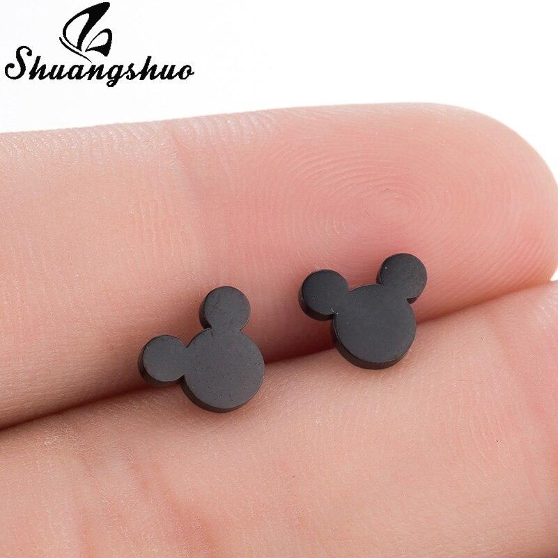 Shuangshuo Black Stainless Steel Earrings Dazzling Cartoon Mouse Stud Earrings for Women & Girls Cute Animal Earrings Female