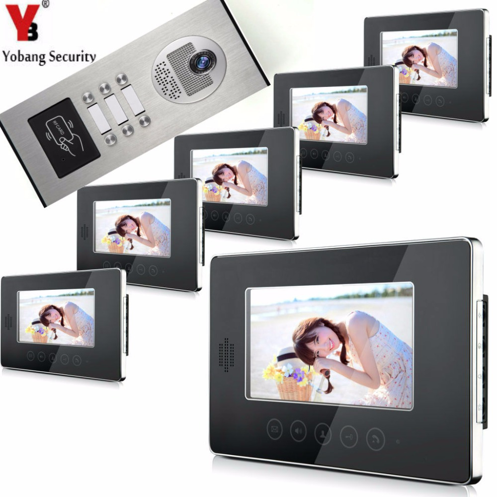 YobangSecurity Video Door Intercom Entry System 7Inch Video Door Phone Doorbell Chime RFID Access Control 1 Camera 6 Monitor pizza group entry max 6