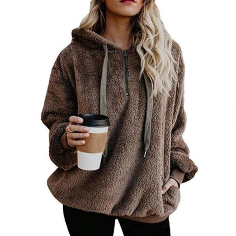 CUHAKCI Velvet   Jackets   Women Winter Knitted Coats Hooded   Basic   Tops Zipper Double-sided Ladies Grey Female Plus Size Coats 5XL