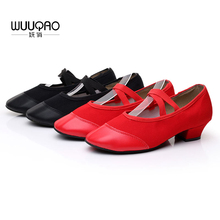 Купить с кэшбэком Women Summer New Arrival Red Canvas Dance Shoes Dance Practice Shoes Soft And Breathable PU Shoes Head