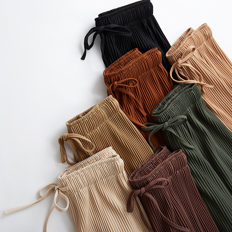 2018 new wide leg pants Korean version of the wild nine pants loose wide leg pants female summer sense high waist pants(China)