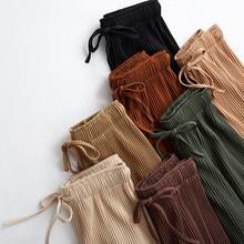 2018 nowe Szerokie spodnie nogawki Koreańska wersja dzikich dziewięciu spodnie luźne Szerokie spodnie nogawki kobiece lato poczucie wysokiej talii spodni tanie tanio Kobiet Spodnie do kostki Elastyczna talia Dobby Połowie Szerokie spodnie na nogawkach Plisowane skrzydła CTHL MRFZD Poliester