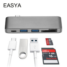 EASYA USB C концентратор Thunderbolt 3 адаптер usb type C Ключ с PD концентратор 3,0 TF SD слот кардридера для MacBook Pro/Ai USB-C