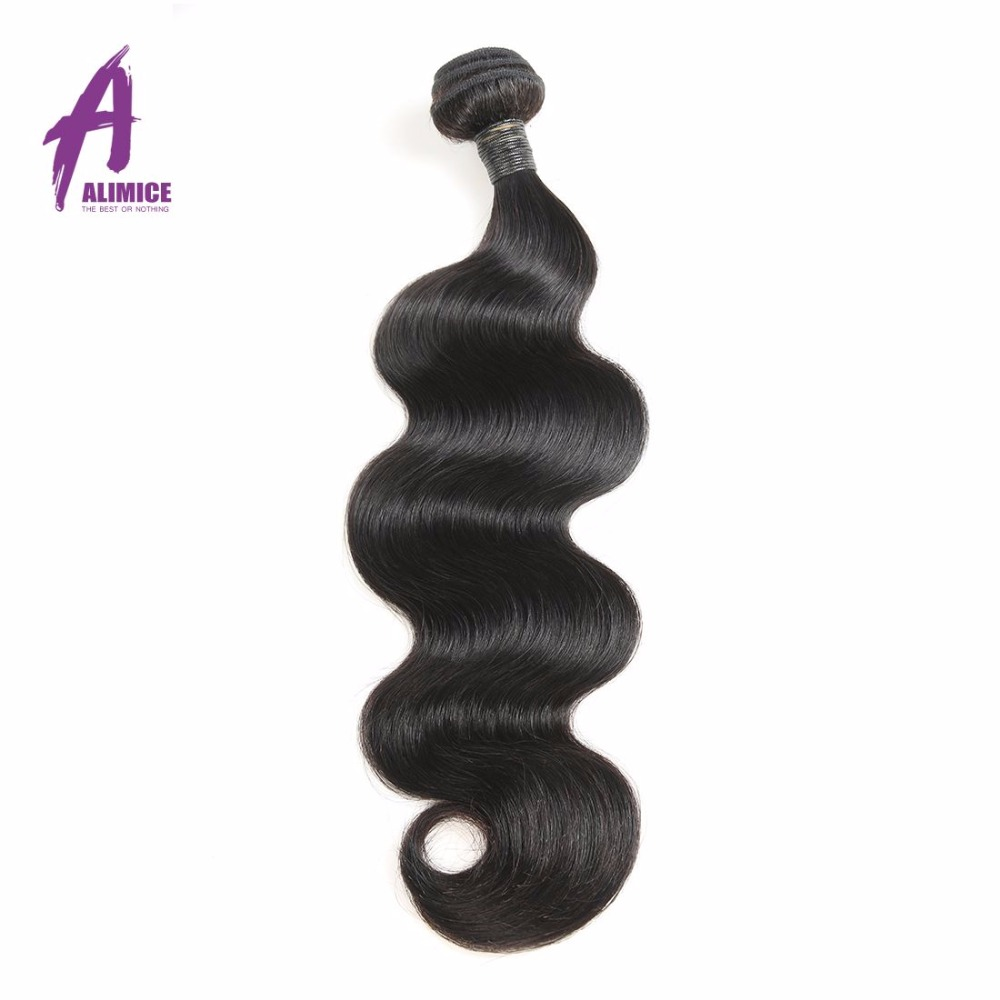 Alimice Hair Brazilian Body Wave Hair Extensions 12-26inch 100% Remy Human Hair Bundles Free Shipping Natural Color