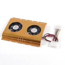 GTFS-3.5″ Hard Disk Drive HDD Dual Fan Cooling Cooler Gold Tone for Desktop PC