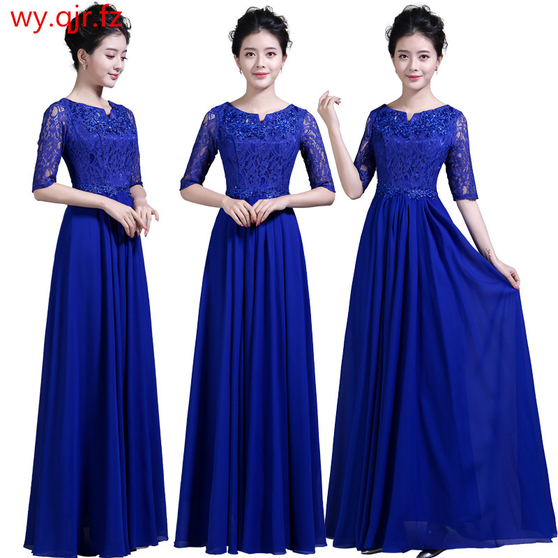 DLH68#Mother Bride Chiffon Lace Rrd Blue Long Bridesmaid Dresses Chorus Costume Bohemia Wedding Party Dress Prom Gown Wholesale