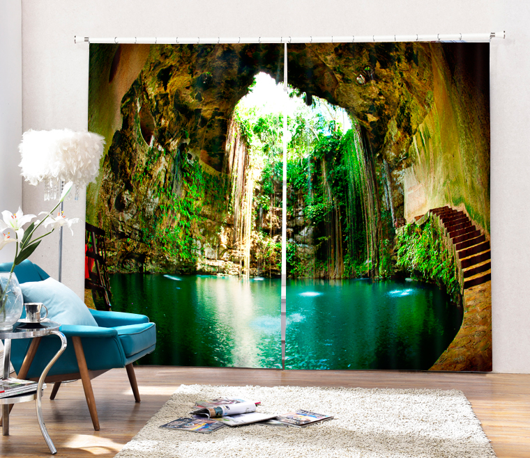 Lake In The Cave Printing 3D Window Curtains Sunshade Curtians Living Room Bedroom Customize SizeLake In The Cave Printing 3D Window Curtains Sunshade Curtians Living Room Bedroom Customize Size