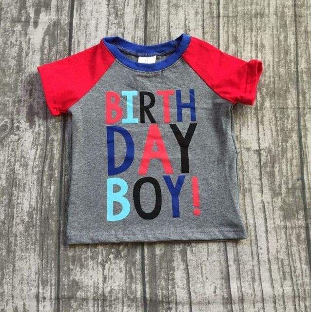 27193637fcaf 2018 new Summer short sleeve top boutique outfits birthday boy kids wear  cotton raglan t-shirt gray navy red clothing available