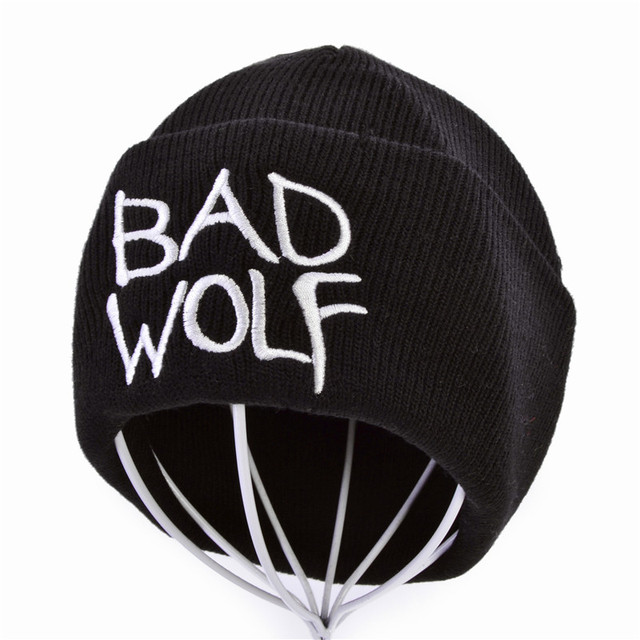 ca484711582 Winter Unisex Bad wolf Letter Embroidery Fashion Keep Warm Wool Knitted  Earmuffs Beanies Hats Caps For Men Women