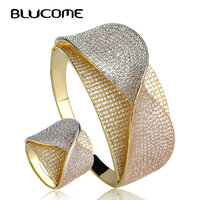 Blucome New Design Bow Tie Shape Wedding Jewelry Sets Heavy Wide Bangle Ring Set Full Cubic Zircons Three Tones Copper Bijoux
