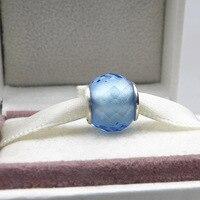 Beads Fits Pandora Bracelets New Winter Light Blue Murano Glass Beads 925 Sterling Silver Jewelry Diy