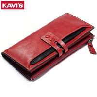 KAVIS Clutch Genuine Leather Womens Wallets And Purses Female Coin Purse Walet Rfid Portomonee Handy Clamp