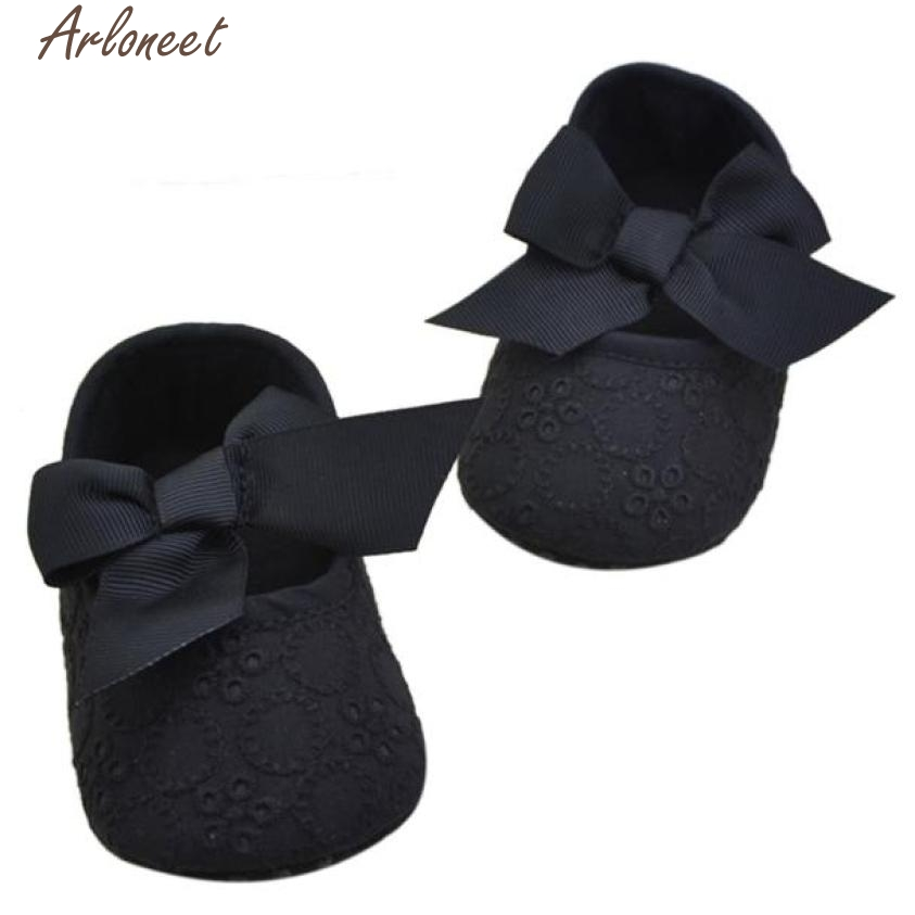 ARLONEET Fashion Baby Shoes Prewalker 2017 Infant Girls Cotton Ribbon Bowknot Soft Bottom Flower Prewalker Oct19