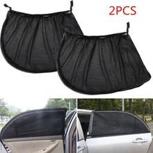 Cover Shades Window Uv-Protection Mesh Car 2pcs Car-Curtains Slip-On Lightweight Nylon