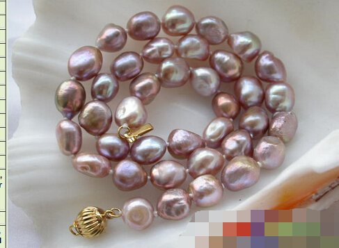 """free shipping 004412 17"""" 11mm lavender baroque freshwater pearl necklace"""