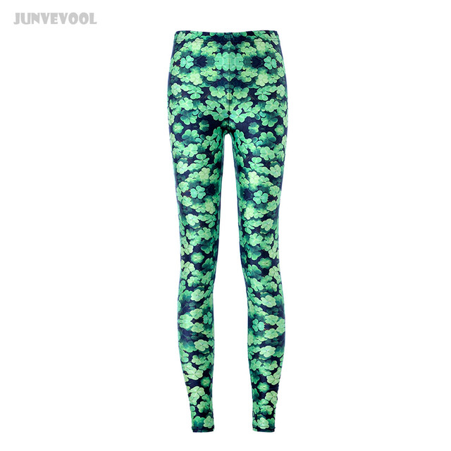 4xl Women Leggings Lucky Clover Pants Green Leaves Sweatpants Women's Slim Skinny Capris Middle Waist Pencil Plant Pant Trousers