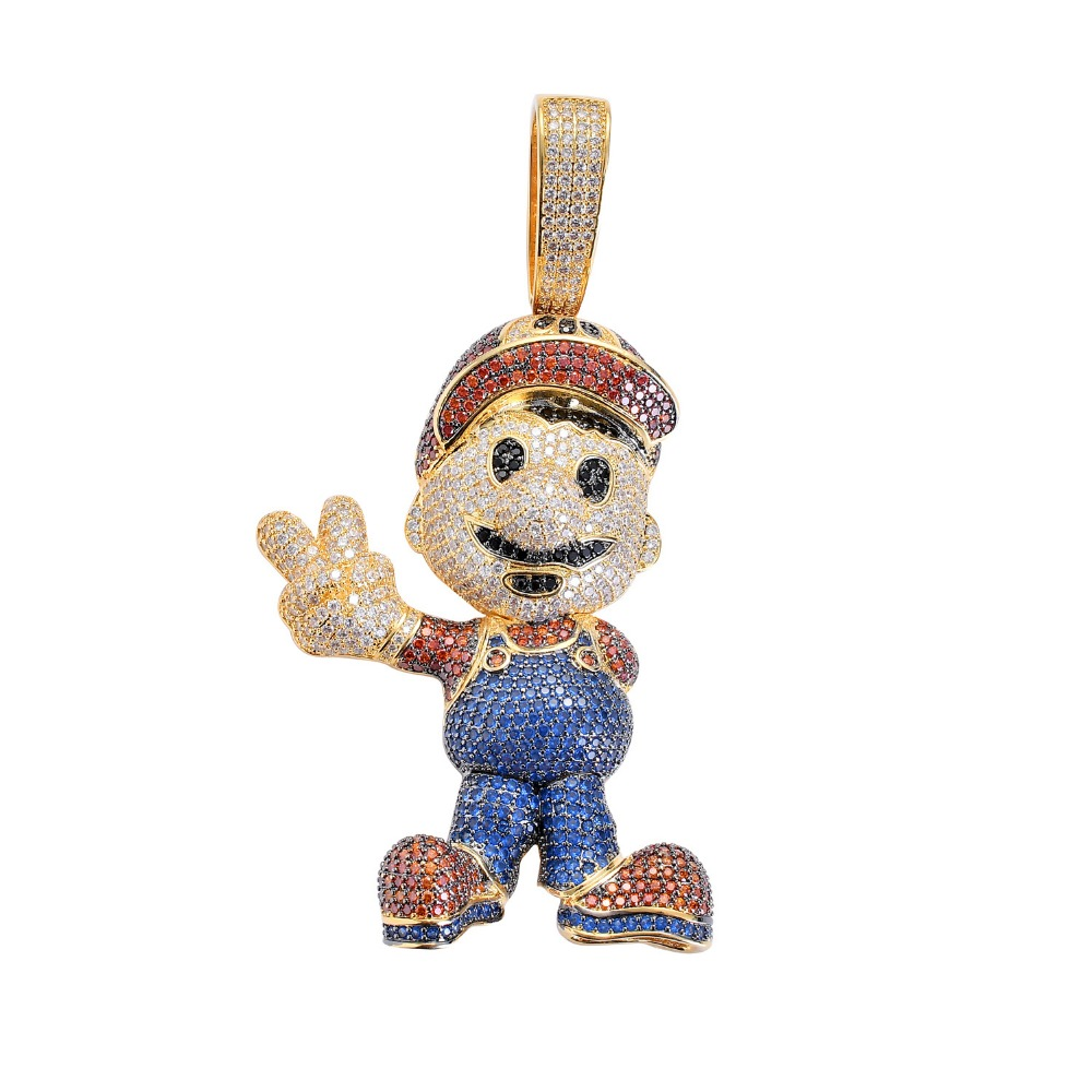 Hip Hop Bling Ice Out AAA CZ Stone Gold Silver Color Cartoon character Mario Men Pendants Necklaces for Male Rapper Jewelry Hip Hop Bling Ice Out AAA CZ Stone Gold Silver Color Cartoon character Mario Men Pendants Necklaces for Male Rapper Jewelry