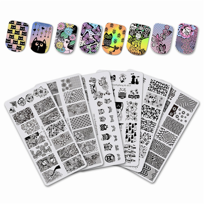 BeautyBigBang 6PCS Stamping For Nails 6*12cm Rectangle Nail Stamping Plates Summer Flower Nail Template Nail Stamping beautybigbang 5pcs nail stamping plates rectangle nail stamping plates summer flower nail template nail art stamping